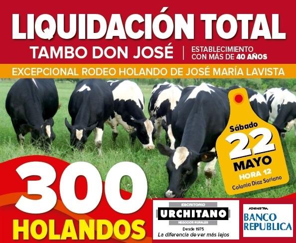 Mañana Urchitano rematará 300 Holando, equipos y maquinaria de tambo